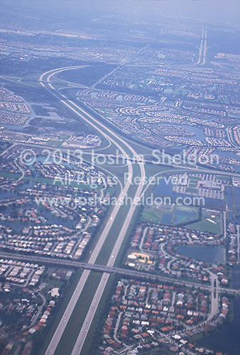 Highway photographed from airplane<br />