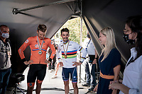 Julian Alaphilippe (FRA/Deceuninck - Quick Step) about to take over the city of Leuven in his 2nd reign as World Champion<br /> Joined backstage on the podium by hi spartner Marion Rousse and runner-up Dylan van Baarle (NED/INEOS Grenadiers)<br /> <br /> Elite Men World Championships - Road Race<br /> from Antwerp to Leuven (268.3km)<br /> <br /> UCI Road World Championships - Flanders Belgium 2021<br /> <br /> ©kramon