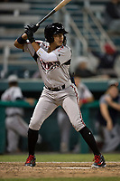Lake Elsinore Storm shortstop Kevin Melean (17) at bat during a California League game against the Modesto Nuts at John Thurman Field on May 12, 2018 in Modesto, California. Lake Elsinore defeated Modesto 4-1. (Zachary Lucy/Four Seam Images)