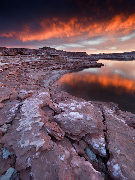 Fiery sunset over the gypsum ledges near East Gypsum Bay in the Virgin Basin in the Lake Mead National Recreation Area on the Arizona-Nevada border. (Photo from Arizona)