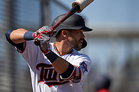 Minnesota Twins Zander Wiel (71) on deck during a Major League Spring Training game against the Pittsburgh Pirates on March 16, 2021 at Hammond Stadium in Fort Myers, Florida.  (Mike Janes/Four Seam Images)