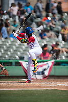 Stockton Ports left fielder Lazaro Armenteros (13) during a California League game against the San Jose Giants on April 9, 2019 in Stockton, California. San Jose defeated Stockton 4-3. (Zachary Lucy/Four Seam Images)