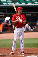 St. Louis Cardinals Paul Goldschmidt (46) bats during a Major League Spring Training game against the Houston Astros on March 20, 2021 at Roger Dean Stadium in Jupiter, Florida.  (Mike Janes/Four Seam Images)