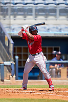 FCL Twins catcher LaRon Smith (25) bats during a game against the FCL Rays on July 20, 2021 at Charlotte Sports Park in Port Charlotte, Florida.  (Mike Janes/Four Seam Images)