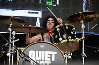 WESTON, FL - APRIL 03: Frankie Banali of Quiet Riot performs at Rockfest 80s held at Markham Park on April 3, 2016 in Weston, Florida.<br /> <br /> <br /> People:  Frankie Banali