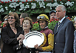 10 August 02: Discreetly Mine (no. 5), ridden by John Velazquez and trained by Todd Pletcher, wins the 18th running of the grade 2 Amsterdam Stakes for three year olds at Saratoga Race Track in Saratoga Springs, New York.