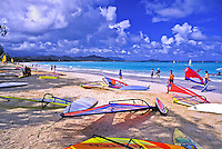 Windsurfing equipment on Kailua Beach, windward Oahu