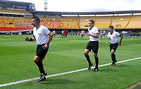 BOGOTA - COLOMBIA, 04-02-2021: Arbitros, calientan antes de partido de la fecha 4 entre Independiente Santa Fe y Patriotas Boyaca F. C., por la Liga BetPlay DIMAYOR I 2021, en el estadio Nemesio Camacho El Campin de la ciudad de Bogota. / Referees, warm up prior a match of the 4th date between Independiente Santa Fe and Patriotas Boyaca F. C., for the BetPlay DIMAYOR I 2021 Leguaje at the Nemesio Camacho El Campin Stadium in Bogota city. / Photo: VizzorImage / Daniel Garzon / Cont.