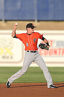 Kody Eaves (6) of the Inland Empire 66ers makes a throw during a game against the High Desert Mavericks at Mavericks Stadium on May 6, 2015 in Adelanto, California. Inland Empire defeated High Desert, 10-4. (Larry Goren/Four Seam Images)