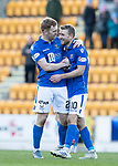 St Johnstone v Hamilton Accies…26.10.19   McDiarmid Park   SPFL<br />Liam Craig goes to two goal hero David Wotherspoon at full time<br />Picture by Graeme Hart.<br />Copyright Perthshire Picture Agency<br />Tel: 01738 623350  Mobile: 07990 594431
