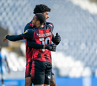 13th April 2021; The John Smiths Stadium, Huddersfield, Yorkshire, England; English Football League Championship Football, Huddersfield Town versus Bournemouth; Philip Billing of Bournemouth celebrates with Arnaut Danjuma of Bournemouth after his goal in the 15th minute