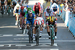 Caleb Ewan (AUS) Lotto-Soudal just pips Dylan Groenewegen (NED) Team Jumbo-Visma by centimetres for the sprint finish of Stage 11, with Elia Viviani (ITA) Deceuninck-Quick Step having the best view, of the 2019 Tour de France running 167km from Albi to Toulouse, France. 17th July 2019.<br /> Picture: Colin Flockton   Cyclefile<br /> All photos usage must carry mandatory copyright credit (© Cyclefile   Colin Flockton)
