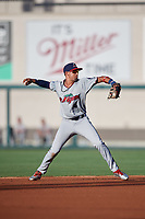 Fort Myers Miracle shortstop Royce Lewis (4) throws to first base during a game against the Lakeland Flying Tigers on August 7, 2018 at Publix Field at Joker Marchant Stadium in Lakeland, Florida.  Fort Myers defeated Lakeland 5-0.  (Mike Janes/Four Seam Images)
