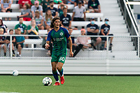HARTFORD, CT - AUGUST 17: Justin Haak #80 of Hartford Athletic brings the ball forward during a game between Charleston Battery and Hartford Athletic at Dillon Stadium on August 17, 2021 in Hartford, Connecticut.