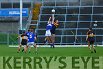 Mark O'Shea Dr Crokes rises over Adrian Spillane Templenoe to claim the kick out as Sean Sheehan and Gavin Crowley Templenoe and Cillian Fitzgerald and Brian Looney await the dropping ball at their  SFC clash in Fitzgerald Stadium on Friday evening