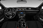 Stock photo of straight dashboard view of a 2018 Ford Mustang EcoBoost 2 Door Coupe