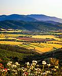 ITA, Italien, Toskana, Blick ueber die Maremma Ebene im letzten Licht der Abendsonne | ITA, Italy, Tuscany, view across Maremma plains