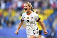 LE HAVRE, FRANCE - JUNE 20: Lindsey Horan #9 during a 2019 FIFA Women's World Cup France group F match between the United States and Sweden at Stade Océane on June 20, 2019 in Le Havre, France.