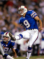 8 October 2007: Buffalo Bills kicker Rian Lindell (9) watches with holder Brian Moorman (8) as Lindell scores a field goal in the second quarter against the Dallas Cowboys at Ralph Wilson Stadium in Buffalo, New York. The Cowboys defeated the Bills 25-24 winning their fifth consecutive game of the season...Mandatory Photo Credit: Ed Wolfstein Photo