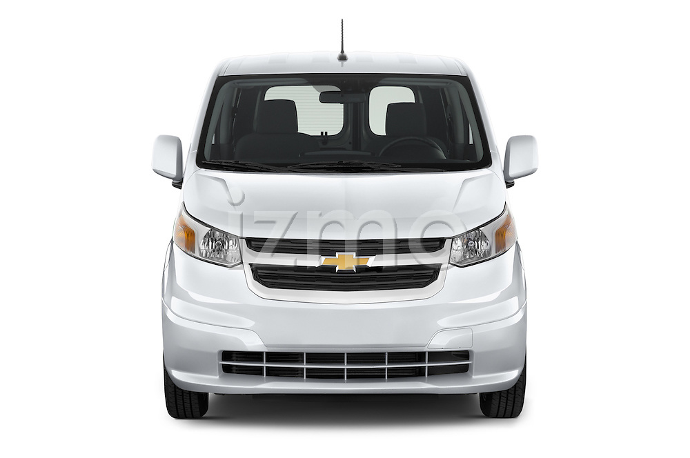 Car photography straight front view of a2017 Chevrolet City Express LT 5 Door Cargo Van Front View