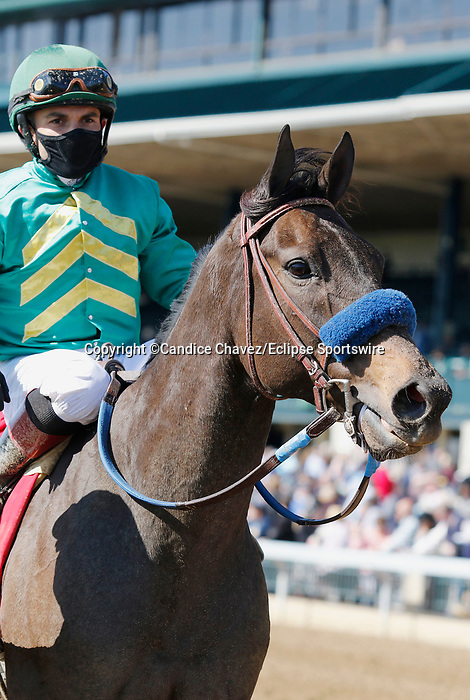 April 03, 2021:  #1 Flagstaff and jockey Joel Rosario win the 34th running of the Commonwealth Grade 3 $200,000 for owner Lane's End Farm and Hronis Racing and trainer John Sadler at Keeneland Racecourse in Lexington, KY on April 03, 2021.  Candice Chavez/ESW/CSM