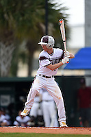 University of the Sciences Devils outfielder T.J. Dezzi (8) at bat during a game against Slippery Rock on March 6, 2015 at Jack Russell Memorial Stadium in Clearwater, Florida.  Slippery Rock defeated University of the Sciences 6-3.  (Mike Janes/Four Seam Images)