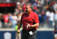 Arkansas head coach Sam Pittman reacts, Saturday, October 9, 2021 during the first quarter of a football game at Vaught Hemingway Stadium in Oxford, Miss. Check out nwaonline.com/211010Daily/ for today's photo gallery. <br /> (NWA Democrat-Gazette/Charlie Kaijo)