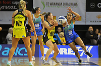 Whitney Souness is pressured by Mystics wing defence Fa'amu Ioane during the ANZ Premiership netball match between Central Pulse and Northern Mystics at TSB Bank Arena in Wellington, New Zealand on Monday, 10 May 2021. Photo: Dave Lintott / lintottphoto.co.nz