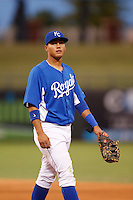 Samir Duenez #9 of the AZL Royals during a game against the AZL Rangers at Surprise Stadium on July 15, 2013 in Surprise, Arizona. AZL Rangers defeated the AZL Royals, 3-2. (Larry Goren/Four Seam Images)