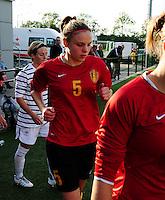 Vriendschappelijke interland vrouwenvoetbal : Belgium A - France A te Nieuwpoort ;..Lorca Van De Putte..foto DAVID CATRY / Vrouwenteam.be