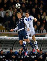 GENOVA, ITALY - February 29, 2012: Brek Shea (l, USA), Christian Maggio (r, ITA) during the USA friendly match against Italy at the Stadium Luigi Ferraris in Genova, Italy.