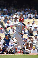Josh Hamilton of the Cincinnati Reds during a game against the Los Angeles Dodgers in a 2007 MLB season game at Dodger Stadium in Los Angeles, California. (Larry Goren/Four Seam Images)