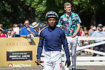 Ricardo Santana Jr. before the start of the 6th race on Whitney day at Saratoga Springs