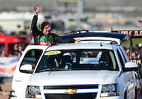 Oct. 26, 2012; Las Vegas, NV, USA: NHRA top fuel dragster driver Terry McMillen during qualifying for the Big O Tires Nationals at The Strip in Las Vegas. Mandatory Credit: Mark J. Rebilas-