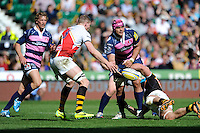 Sione Kalamafoni of Gloucester Rugby passes during the Aviva Premiership match between London Wasps and Gloucester Rugby at Twickenham Stadium on Saturday 19th April 2014 (Photo by Rob Munro)
