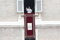 Pope Francis recites the Angelus noon prayer from the window of his studio overlooking St.Peter's Square, at the Vatican, Sunday, March 14, 2021<br /> UPDATE IMAGES PRESS/Isabella Bonotto<br /> <br /> STRICTLY ONLY FOR EDITORIAL USE