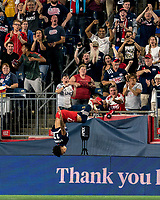 FOXBOROUGH, MA - AUGUST 18: Tajon Buchanan #17 of New England Revolution celebrates his goal during a game between D.C. United and New England Revolution at Gillette Stadium on August 18, 2021 in Foxborough, Massachusetts.