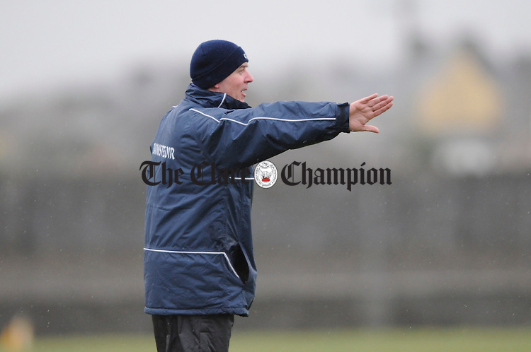 Clare's senior football manager Frank Doherty on the sideline during their Waterford Cup game in Miltown. Photograph by John Kelly.
