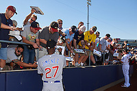 Mesa Solar Sox Eloy Jimenez (27), of the Chicago Cubs organization, signs autographs before a game against the Peoria Javelinas on October 19, 2016 at Peoria Stadium in Peoria, Arizona.  Peoria defeated Mesa 2-1.  (Mike Janes/Four Seam Images)