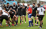 Akira Ioane (L), Hayden Trigs, Jacob Skeen, Blade Thomson, Mitchell Crosswell. Maori All Blacks vs. Fiji. Suva. MAB's won 27-26. July 11, 2015. Photo: Marc Weakley