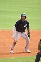 New York Yankees Everson Pereira (38) leads off second base during an Extended Spring Training game against the Detroit Tigers on June 19, 2021 at Tigertown in Lakeland, Florida.  (Mike Janes/Four Seam Images)