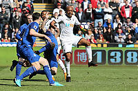 Andre Ayew of Swansea City (R) passes the ball during the Premier League match between Swansea City and Everton at The Liberty Stadium, Swansea, Wales, UK. Saturday 14 April 2018