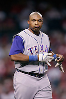 Marlon Byrd of the Texas Rangers during a game against the Los Angeles Angels in a 2007 MLB season game at Angel Stadium in Anaheim, California. (Larry Goren/Four Seam Images)