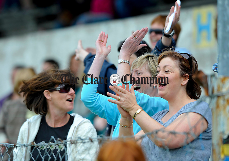 Clonlara mothers celebrate their team's win in the U-12 Division 3 championship final in Cusack Park. Photograph by John Kelly.
