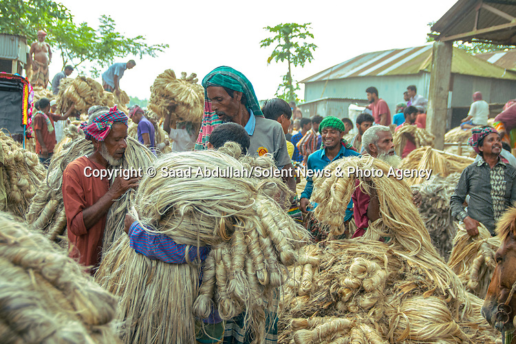 Workers look like they are wearing enormous blonde wigs as they carry jute to market.  The vast piles are taken from boats and moved by labourers - who carry up to 50kgs of the fibre piled on their heads to the vendors 200 metres away.<br /> <br /> Temperatures at the market in Ghior, Bangladesh, - where the images were captured - reach more than 30 degrees centigrade as the men make their repetitive journeys to and from the boats.  SEE OUR COPY FOR DETAILS.<br /> <br /> Please byline: Saad Abdullah/Solent News<br /> <br /> © Saad Abdullah/Solent News & Photo Agency<br /> UK +44 (0) 2380 458800