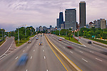 Lake Shore Drive in the late afternoon with cars going in and out of downtown Chicago, Illinois