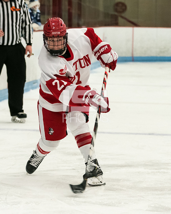 BOSTON, MA - JANUARY 04: Abbey Stanley #21 of Boston University takes a shot during a game between University of Maine and Boston University at Walter Brown Arena on January 04, 2020 in Boston, Massachusetts.