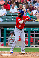 Buffalo Bisons shortstop Richard Urena (8) at bat during an International League game against the Indianapolis Indians on July 28, 2018 at Victory Field in Indianapolis, Indiana. Indianapolis defeated Buffalo 6-4. (Brad Krause/Four Seam Images)