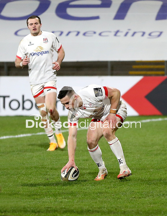 26 February 2021; John Cooney scores Ulster's first try during the Guinness PRO14 match between Ulster and Ospreys at Kingspan Stadium in Belfast. Photo by John Dickson/Dicksondigital