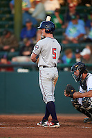 Fort Myers Miracle center fielder Austin Diemer (5) at bat during a game against the Daytona Tortugas on April 17, 2016 at Jackie Robinson Ballpark in Daytona, Florida.  Fort Myers defeated Daytona 9-0.  (Mike Janes/Four Seam Images)